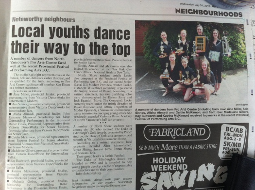 Pro Arte in the NorthShore News August 1st 2013